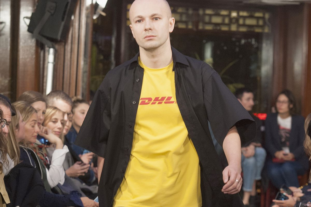 Vetements's DHL shirt on the runway. Photo: Kay-Paris Fernandes/Getty Images