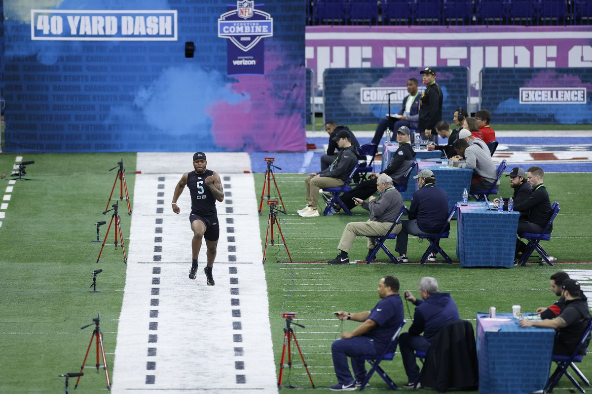 A general view as defensive back Brian Cole II of Mississippi State runs the 40-yard dash during the NFL Combine at Lucas Oil Stadium on February 29, 2020 in Indianapolis, Indiana.