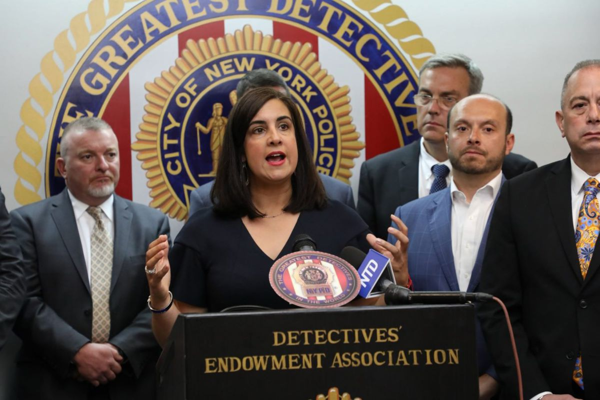 Staten Island Congressional Rep. Nicole Malliotakis speaks in support of NYPD detectives, June 21, 2021.