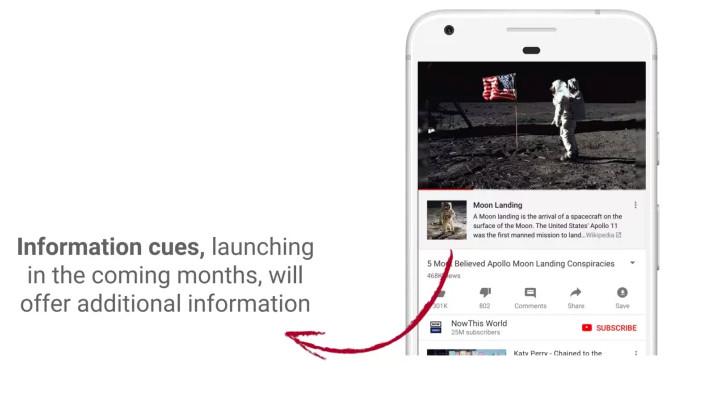 YouTube - screencap showing Wikipedia information about moon landing