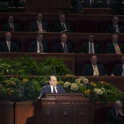 President Thomas S. Monson announces two new Temples will be guilt in Cedar City Utah and in Rio de Janeiro, Brazil during the morning session of 183 annual General Conference of the Church of Jesus Christ of Latter Day Saints Saturday, April 6, 2013 inside the Conference Center.