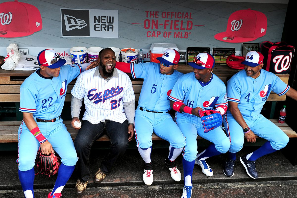 size 40 2e2f5 e4e14 Vladimir Guerrero throws out first pitch on Expos Day in ...