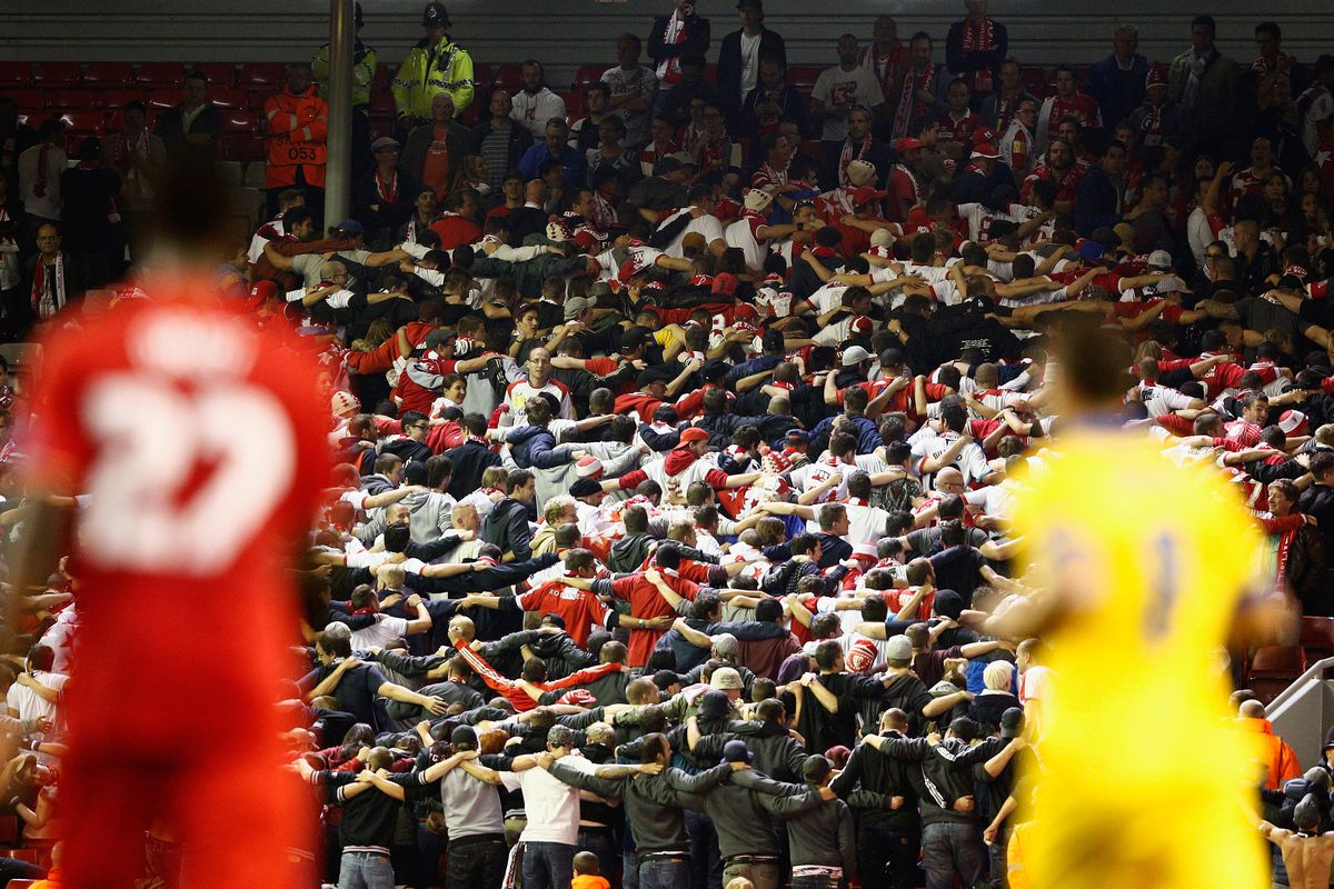 Yes, those are the away supporters at Anfield. For shame.
