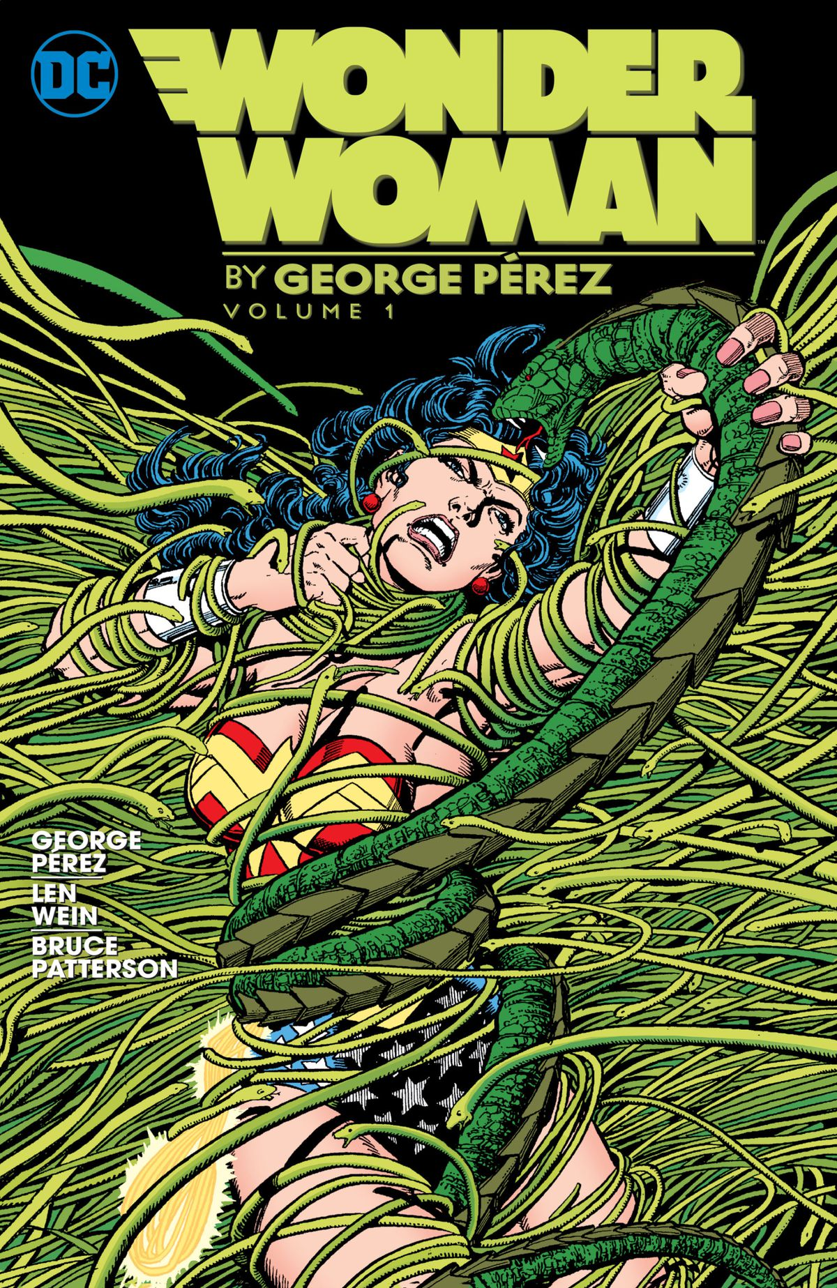 Wonder Woman struggles with hundreds of snakes threatening to engulf her in their coils on the cover of Wonder Woman by George Pérez, DC Comics.