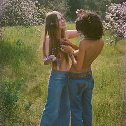 """""""This is Loulou and Jasmin. They were pretty inseparable at this time, besties. Jasmin's folks had this amazing property up in Ojai and we went there to take these pictures. It was the very beginning of spring, and the whole place was covered in flowers"""