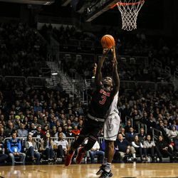 Utah's Donnie Tillman drives to the basket against Butler at Hinkle Fieldhouse in Indianapolis on Tuesday, Dec. 5, 2017. The Utes fell to the Bulldogs, 81-69.