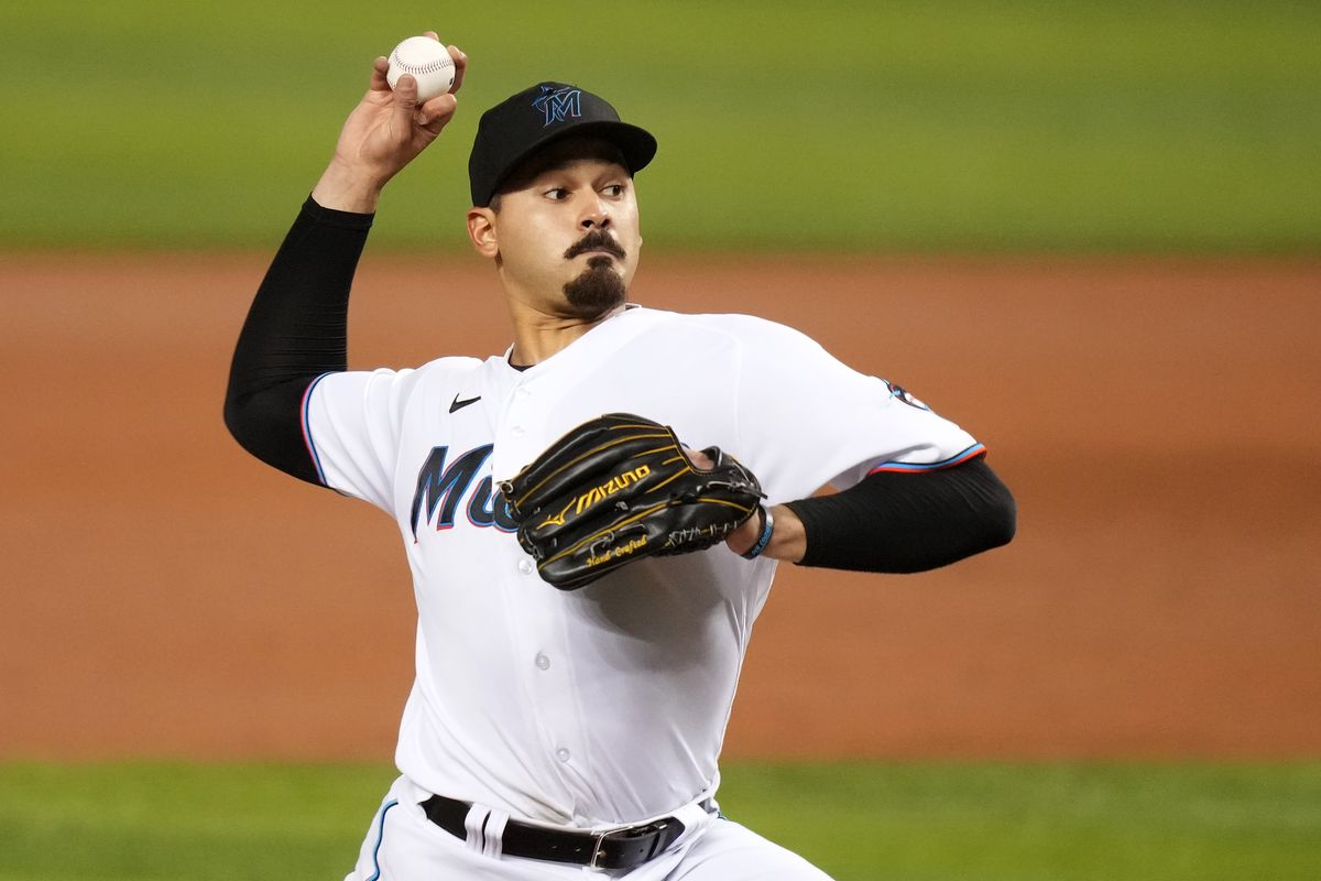 Miami Marlins starting pitcher Pablo Lopez (49) delivers a pitch in the 3rd inning against the Los Angeles Dodgers at loanDepot park.