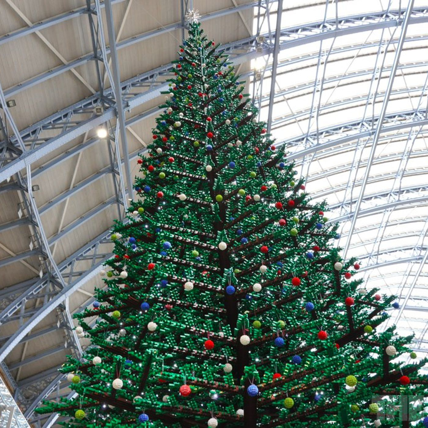 33 foot Lego Christmas tree erected in London s St Pancras Station