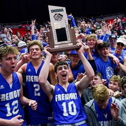 Fremont's Baylor Harrop and teammates celebrate their win over Davis in the 6A boys basketball championship game at the Huntsman Center in Salt Lake City on Saturday, Feb. 29, 2020.