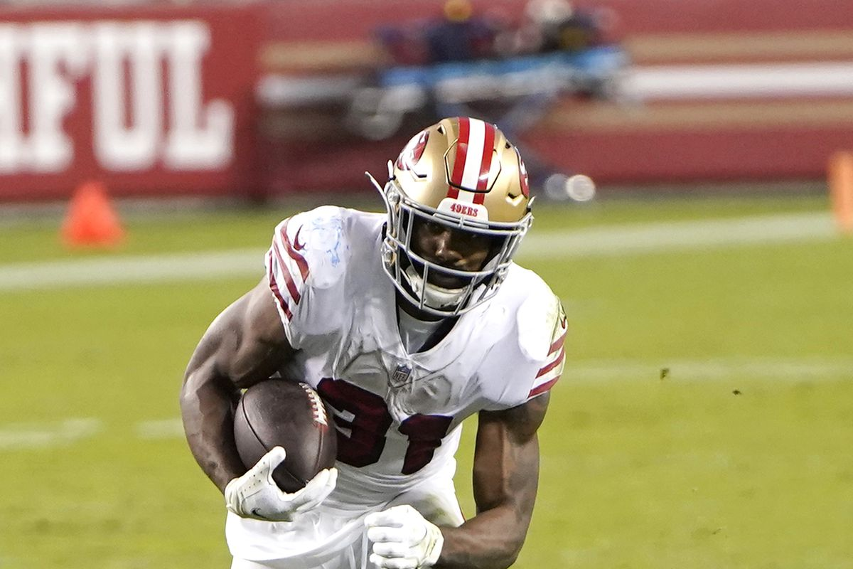Raheem Mostert #31 of the San Francisco 49ers carries the ball against the Los Angeles Rams during the second quarter of their NFL football game at Levi's Stadium on October 18, 2020 in Santa Clara, California.