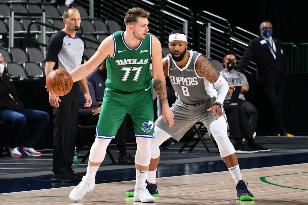 Luka Doncic of the Dallas Mavericks dribbles the ball during the game against the LA Clippers on March 17, 2021 at the American Airlines Center in Dallas, Texas.