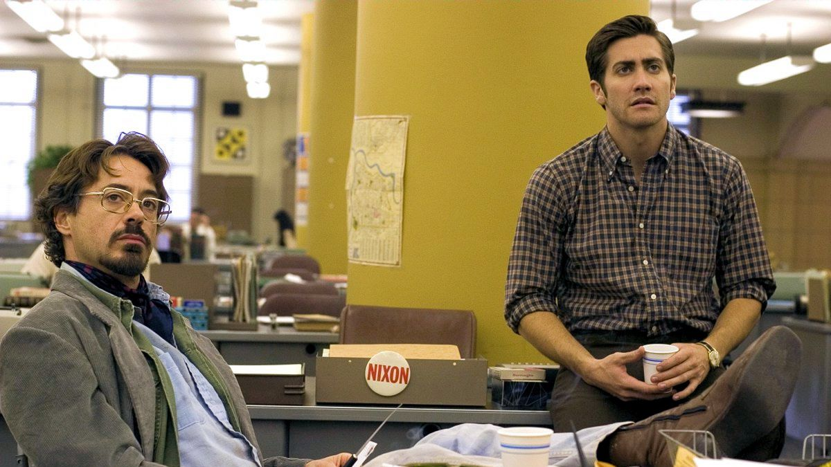 Robert Downey Jr. and Gyllenhaal in 'Zodiac' (Paramount Pictures)