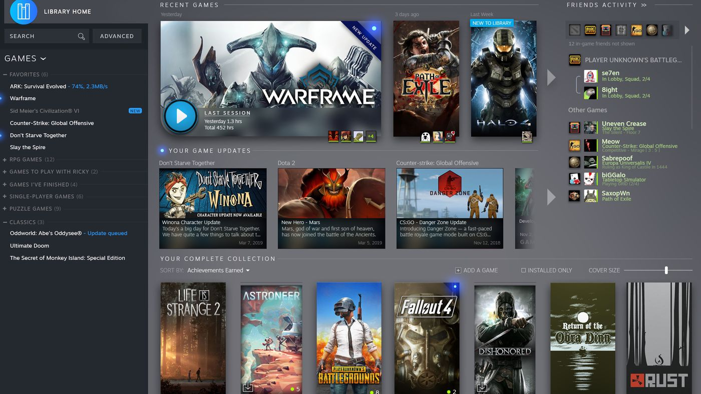 Valve redesigns Steam game library, adding Steam Events