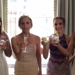 Tory and her girls doing a champagne toast before heading out.