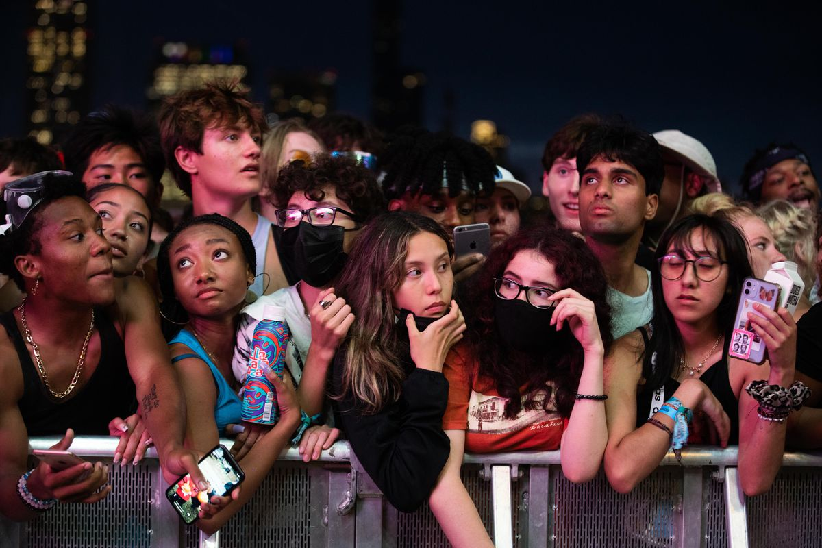 Festival goers wait for Tyler, The Creator to perform.