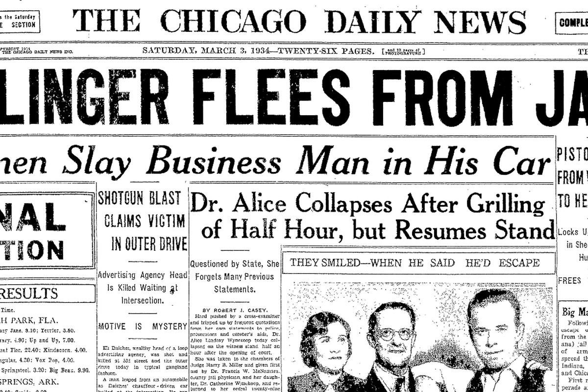The front page of the Chicago Daily News on March 3, 1934.