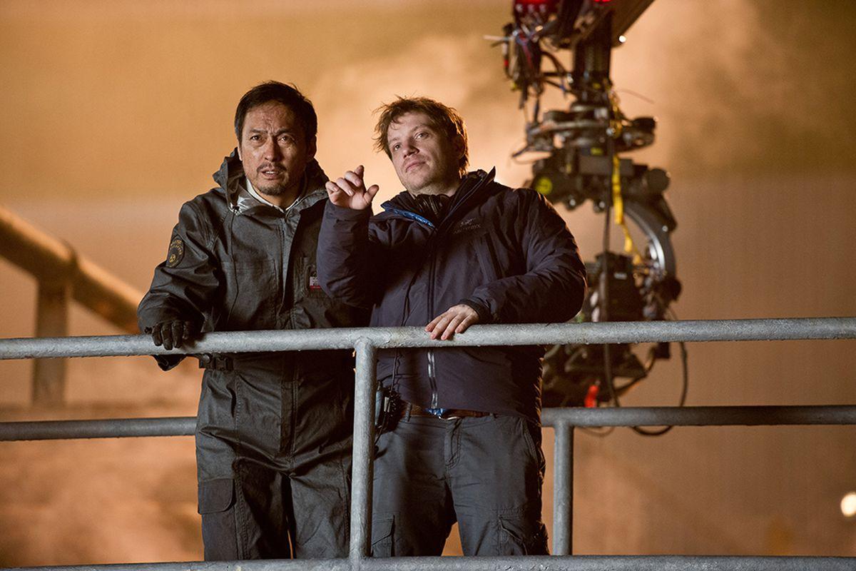 """Edwards directing on the set of 2014's """"Godzilla."""""""