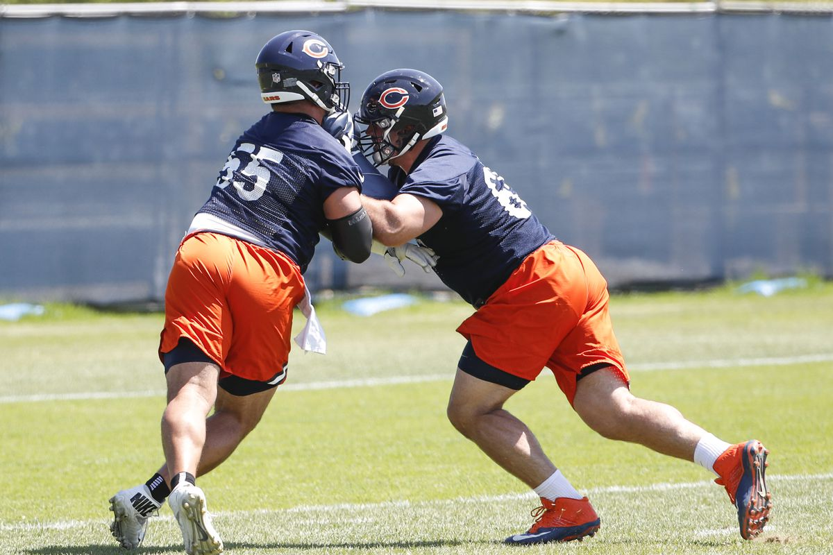 Chicago Bears center Hroniss Grasu (55) and center Cody Whitehair (right)  participate in a drill during organized team activities at Halas Hall Kamil  ... 08354191b