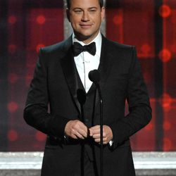 Host Jimmy Kimmel speaks onstage at the 64th Primetime Emmy Awards at the Nokia Theatre on Sunday, Sept. 23, 2012, in Los Angeles.