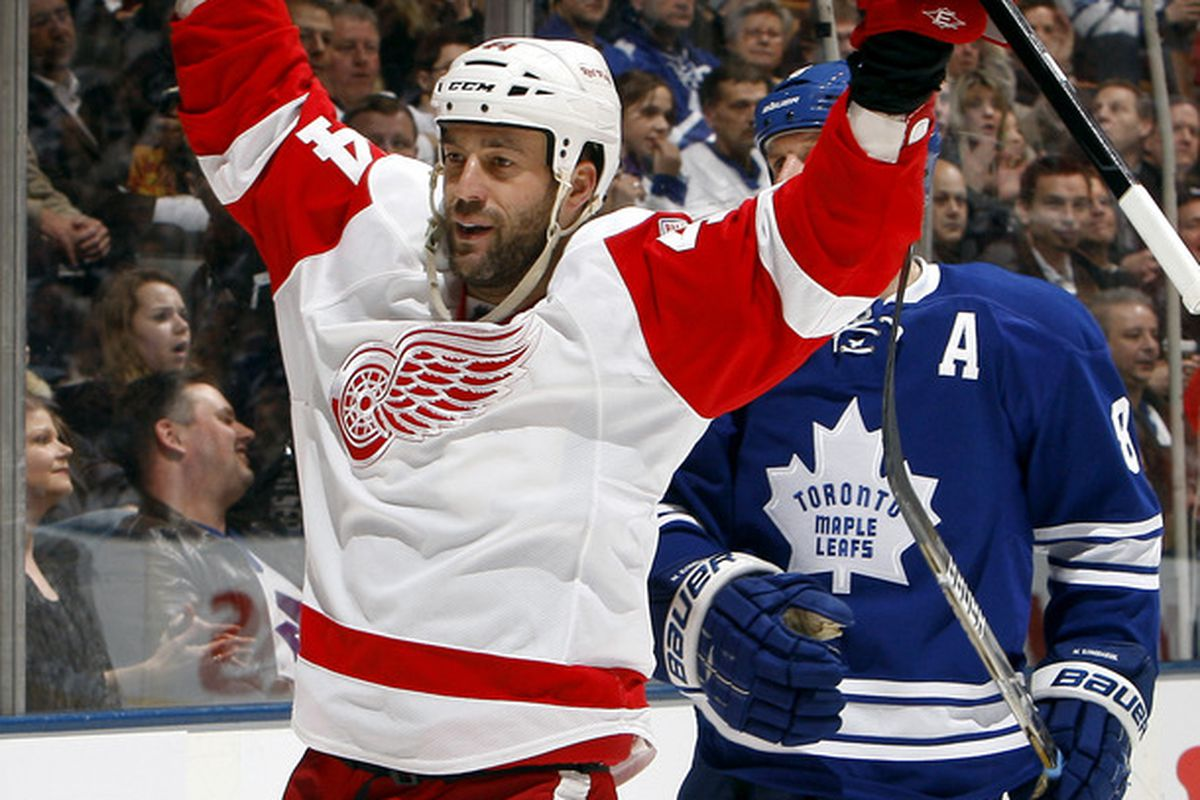 TORONTO, CANADA - JANUARY 7: Todd Bertuzzi #44 of the Detroit Red Wings celebrates his goal against the Toronto Maple Leafs during NHL action at The Air Canada Centre January 7, 2012 in Toronto, Ontario, Canada. (Photo by Abelimages/Getty Images)