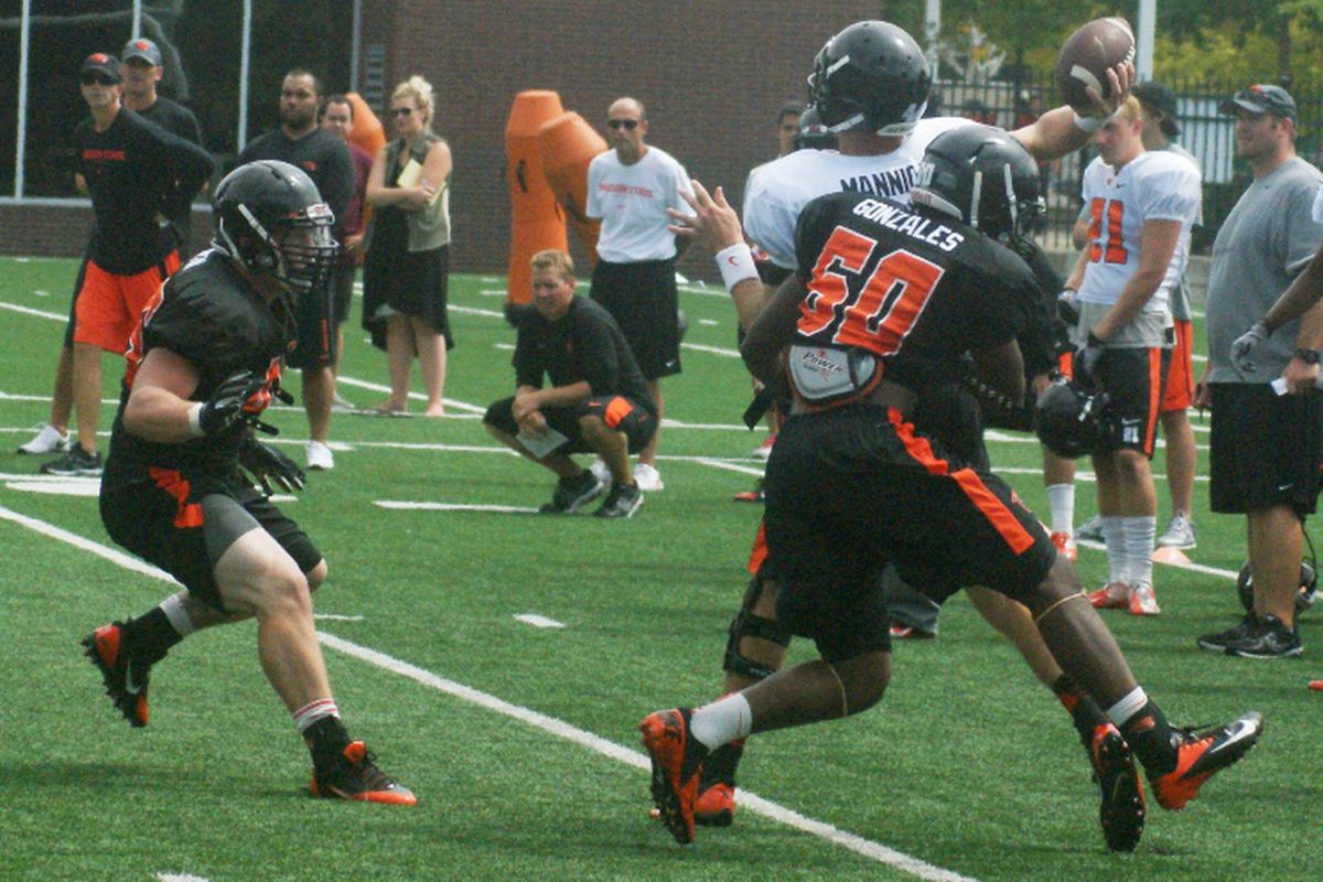 Oregon St. head Coach Mike Riley continues to evaluate his options at quarterback.