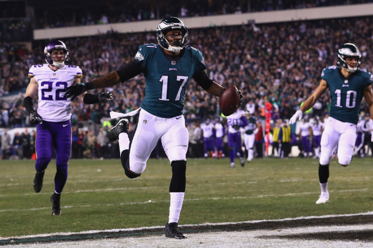 a359f53455f Alshon Jeffery celebrates after scoring on a 53-yard touchdown reception in  the second quarter of the NFC Championship Game against the Vikings on  Sunday in ...