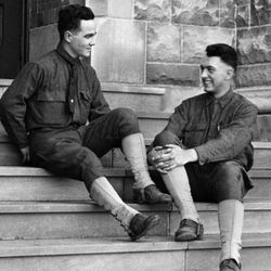 Wilber (right) is a freshman at Indiana University in his SATC uniform, 1918.