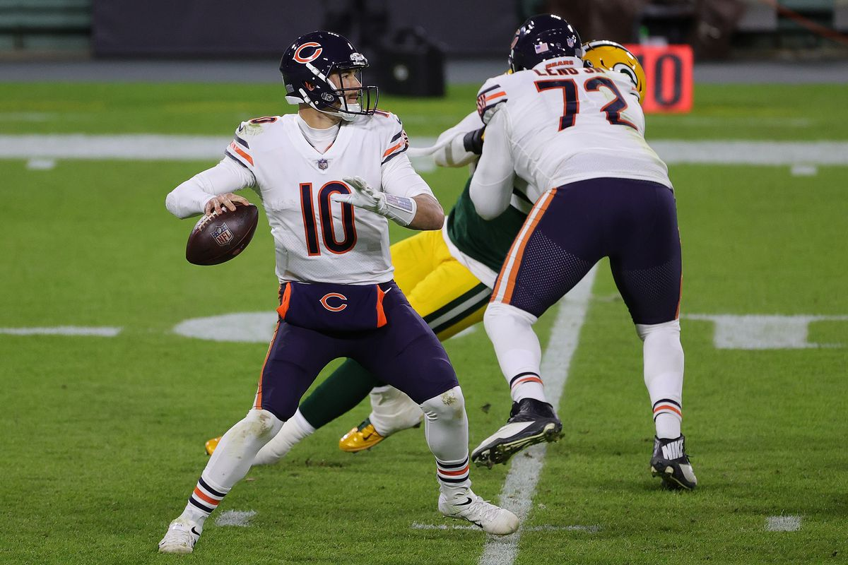 Mitchell Trubisky #10 of the Chicago Bears looks to pass during a game against the Green Bay Packers at Lambeau Field on November 29, 2020 in Green Bay, Wisconsin. The Packers defeated the Bears 45-21.