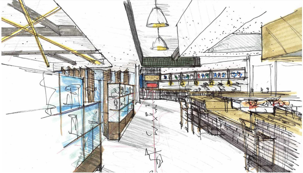 A sketched rendering of a hallway within China Live's market, with a street-level view.