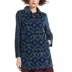 "<b>Elevenses</b> Indigoflora Velveteen Coat in blue, <a href=""http://www.anthropologie.com/anthro/product/26135657.jsp#"">$198</a> at Anthropologie"