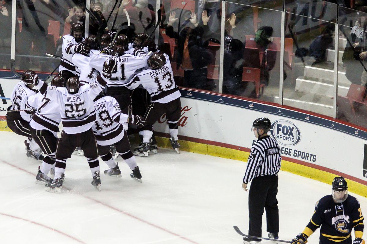 Colgate players celebrate their ECAC Hockey Semifinal victory last season.