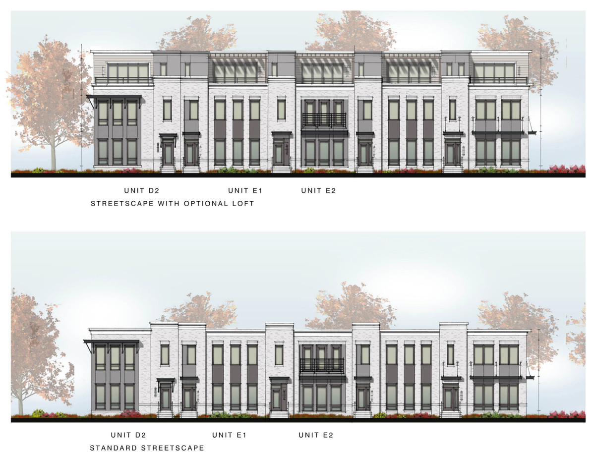 A rendering of more townhomes.