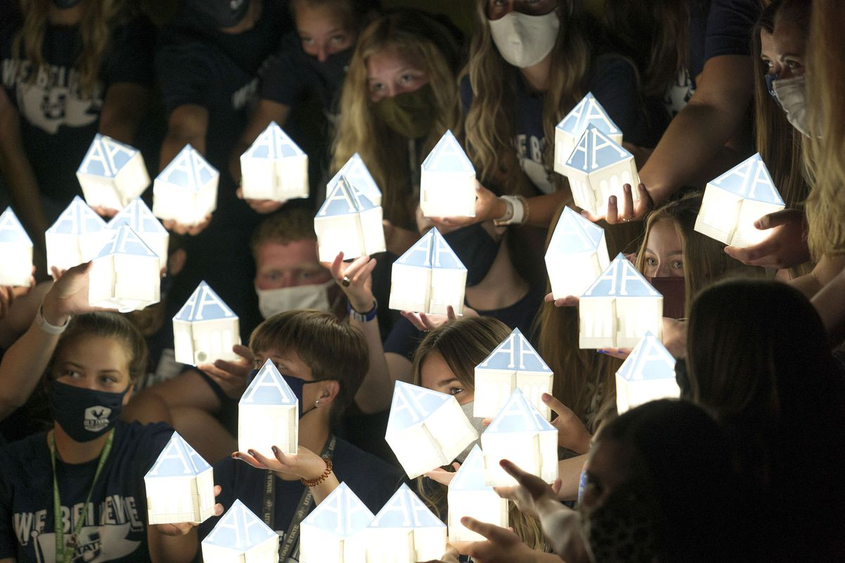 Utah State University students participate in the annual Connections Luminary in Logan on Aug. 28, 2020.