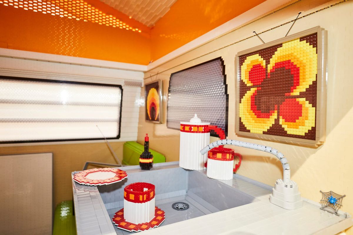 Interior of Lego camper with sink