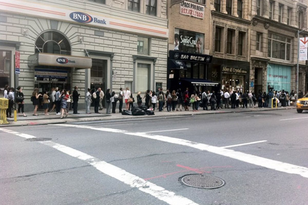 """This was the line after work for J.Crew yesterday. Via <a href=""""http://samplesally.com/2011/06/14/the-long-wait-after-work-outside-the-j-crew-sample-sale/"""">Sample Sally</a>"""