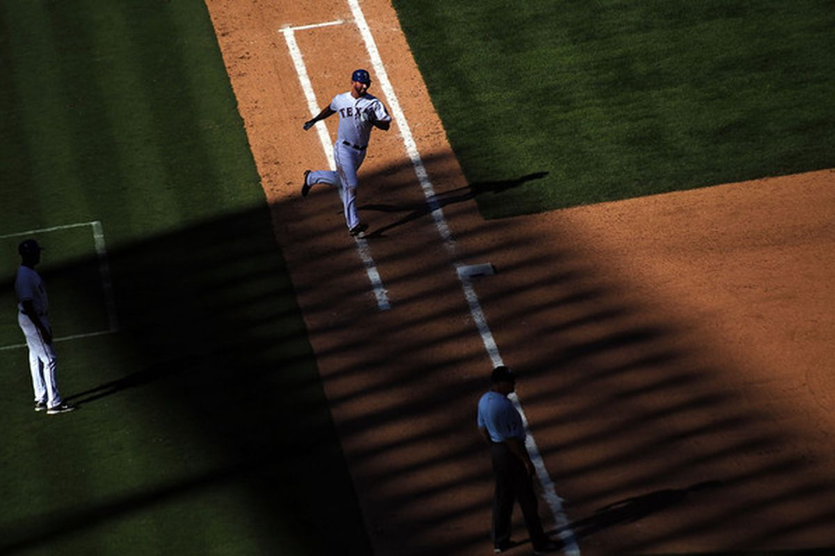 ARLINGTON TX - SEPTEMBER 29: Jeff Francoeur #21 of the Texas Rangers singles against the Seattle Mariners in the eighth inning at Rangers Ballpark in Arlington on September 29 2010 in Arlington Texas.  (Photo by Ronald Martinez/Getty Images)