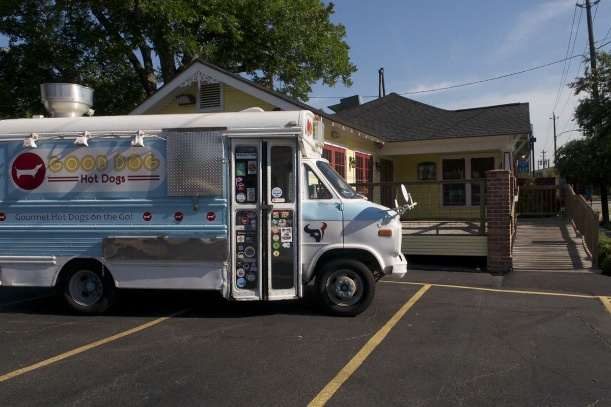 The Good Dogs Food Truck poses in front of its upcoming brick and mortar space