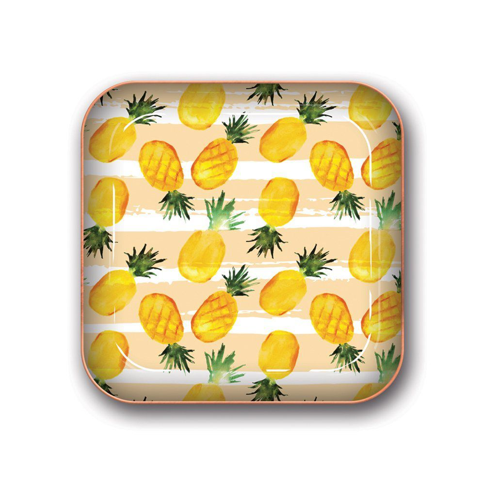 Square tray with pineapples printed on it.