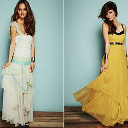Blue flapper dress is $700; mustard 'leather and lace' dress is $600