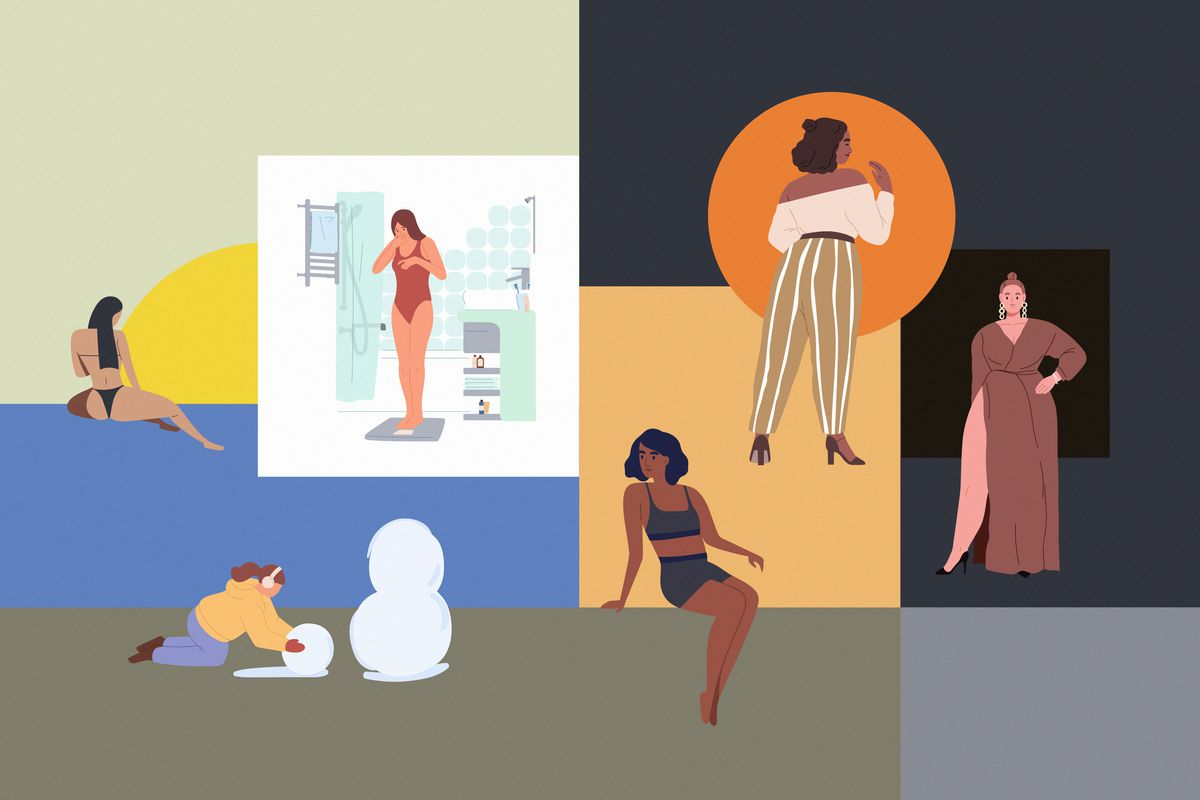 Illustration of six different women in various scenes and poses.