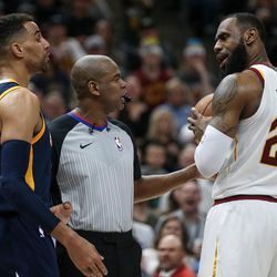 Utah Jazz forward Thabo Sefolosha (22) and Cleveland Cavaliers forward LeBron James (23) are each charged with technical fouls after getting in each other's face at Vivint Arena in Salt Lake City on Saturday, Dec. 30, 2017.