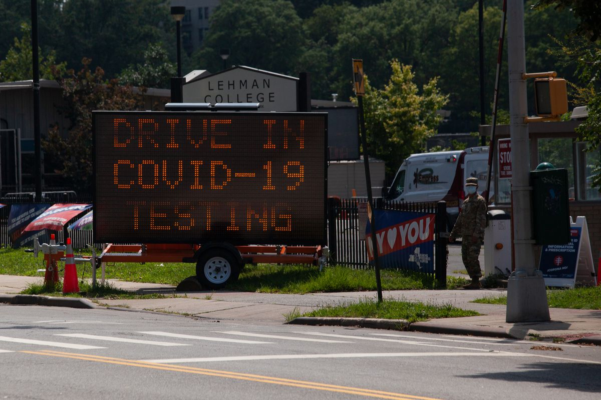A drive-through coronavirus testing site at Lehman College in the North Bronx, July 14, 2020.