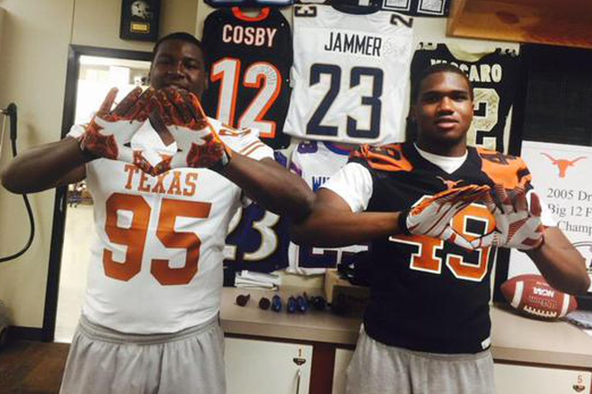 Stephon Taylor (left) visiting Texas last July