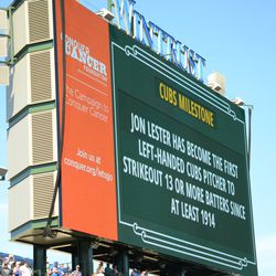 3:52 p.m. Update on Jon Lester's day, on the left field video board -