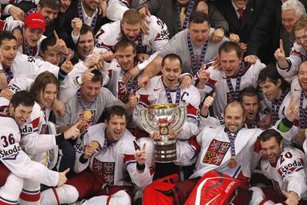 "via <a href=""http://cdn.picapp.com/ftp/Images/8/6/4/c/Czech_Republics_players_cf33.jpg?adImageId=12963016&imageId=8892732"">cdn.picapp.com</a> Shock finish as the Czech Republic stuns Russia to become 2010 IIHF World Champions"