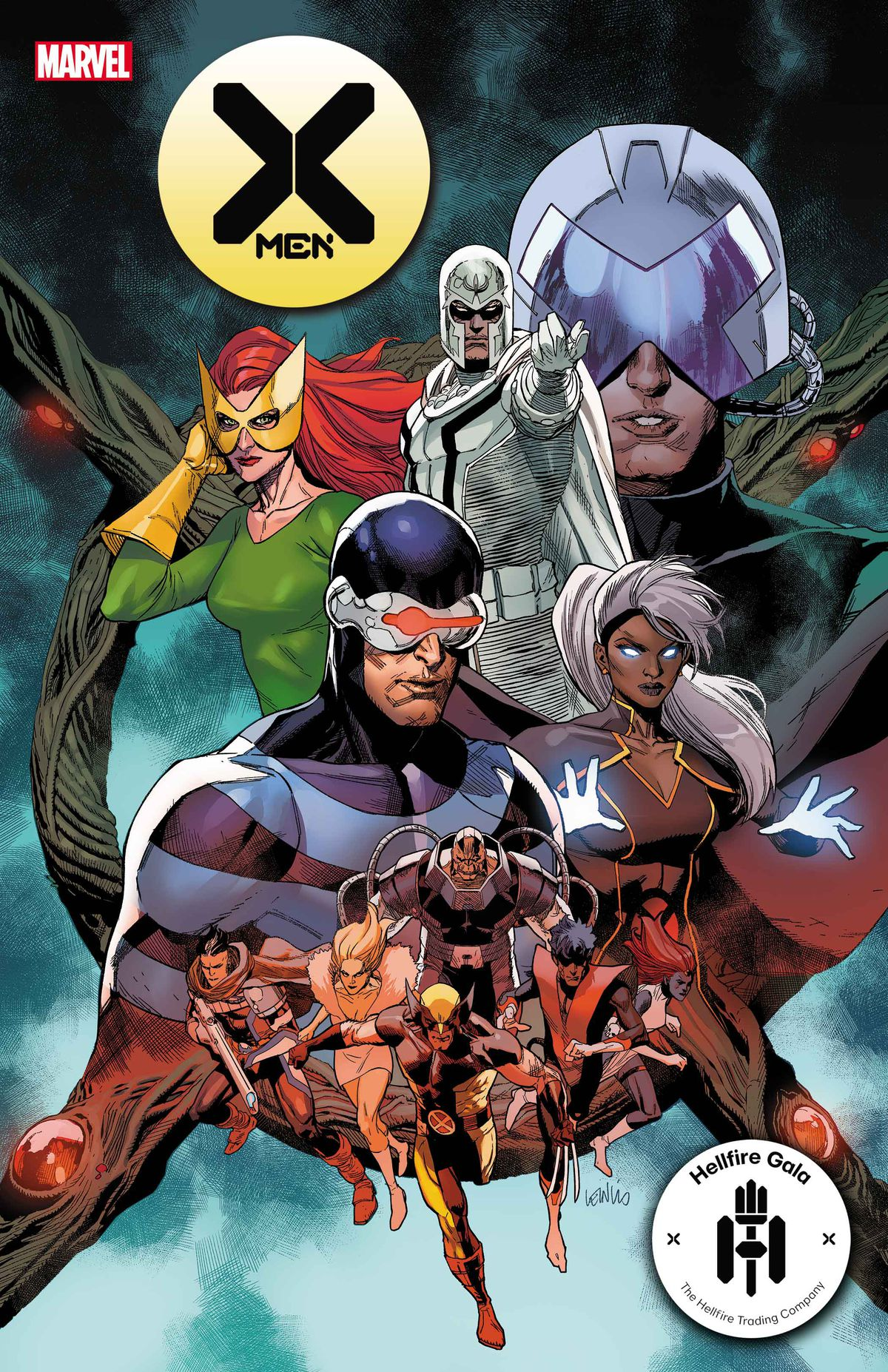 Potential members of the new X-Men team are shown off on the cover of X-Men #21, Marvel Comics (2021)