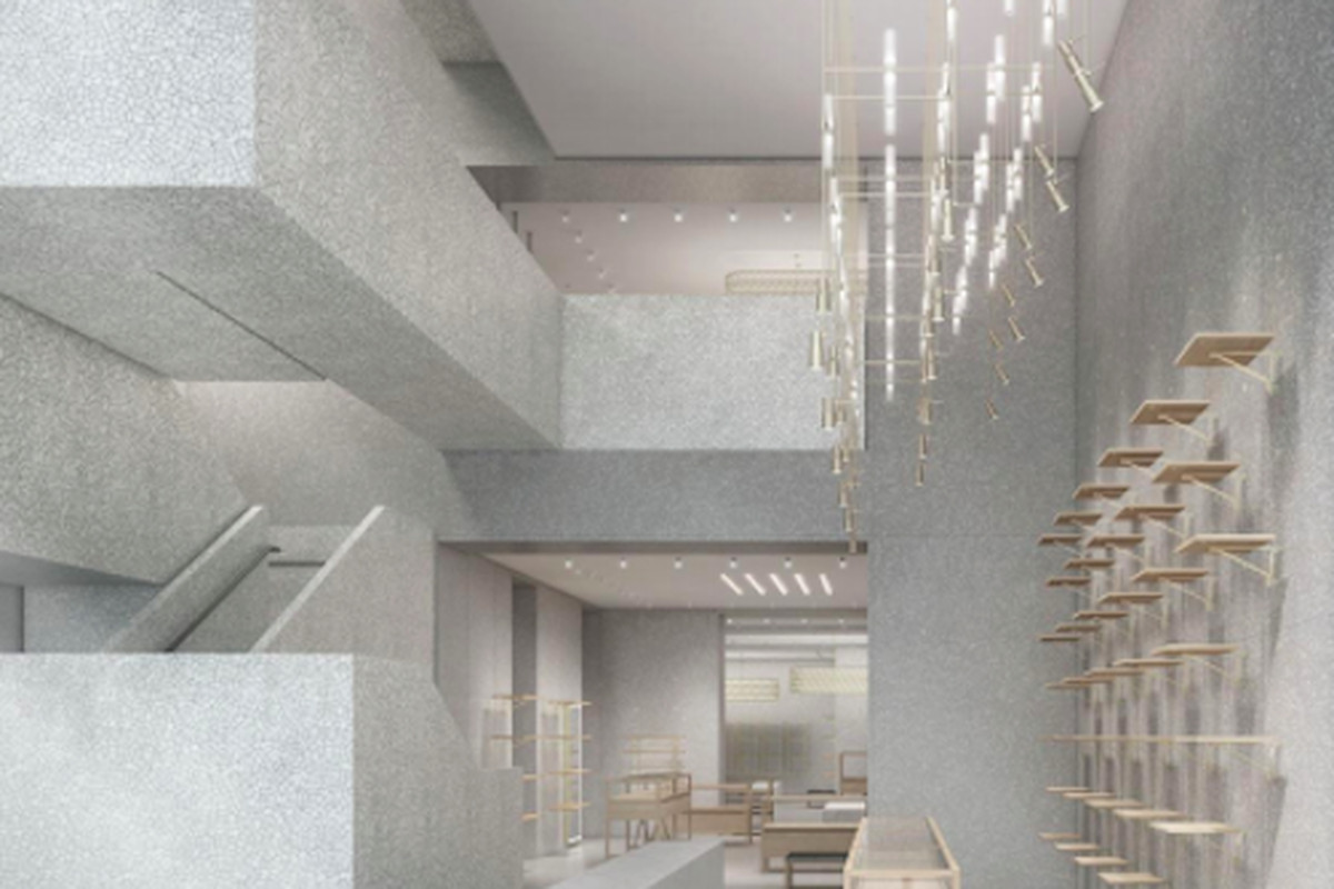 A rendering of the store's interior, courtesy of Valentino