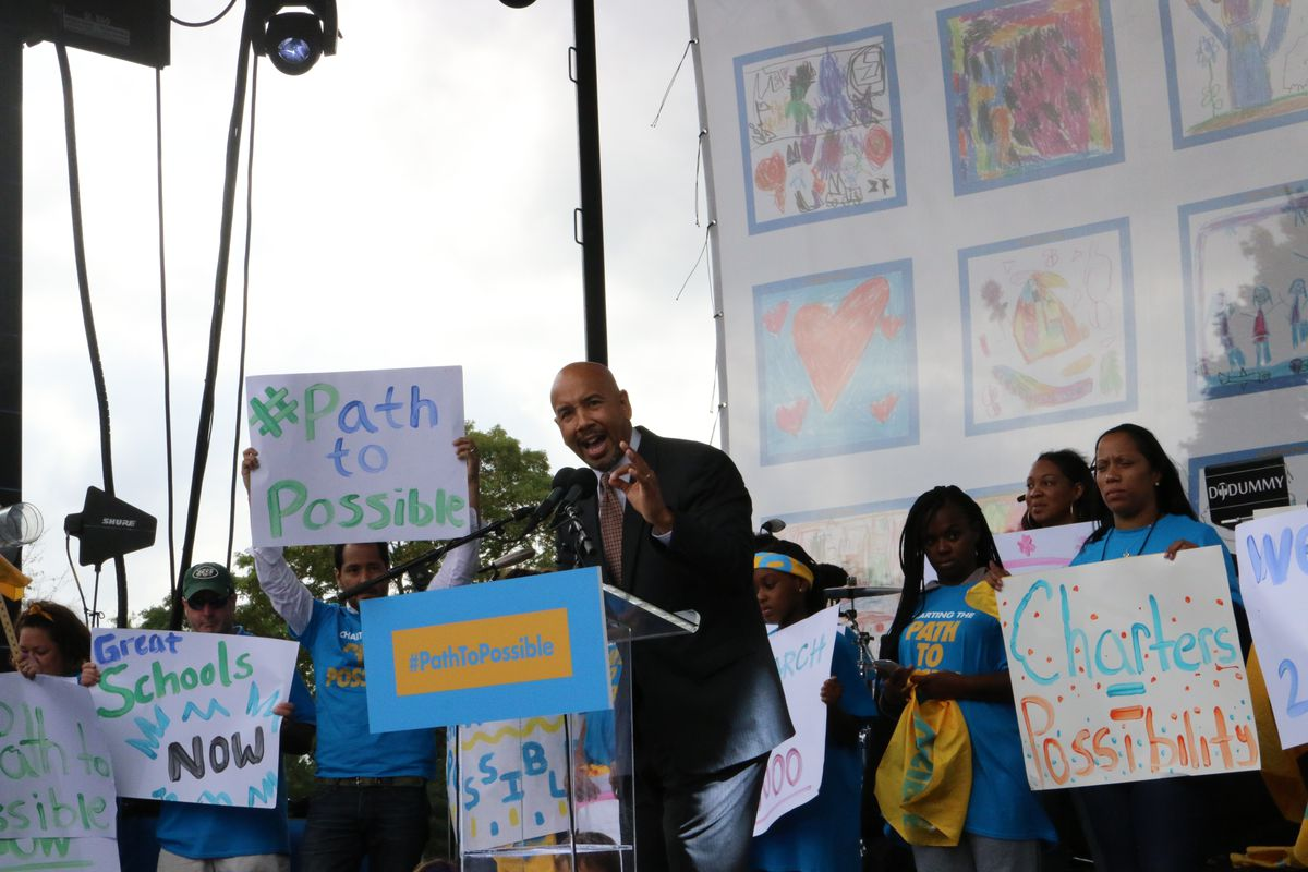 A pro-charter school rally in New York City in 2016.