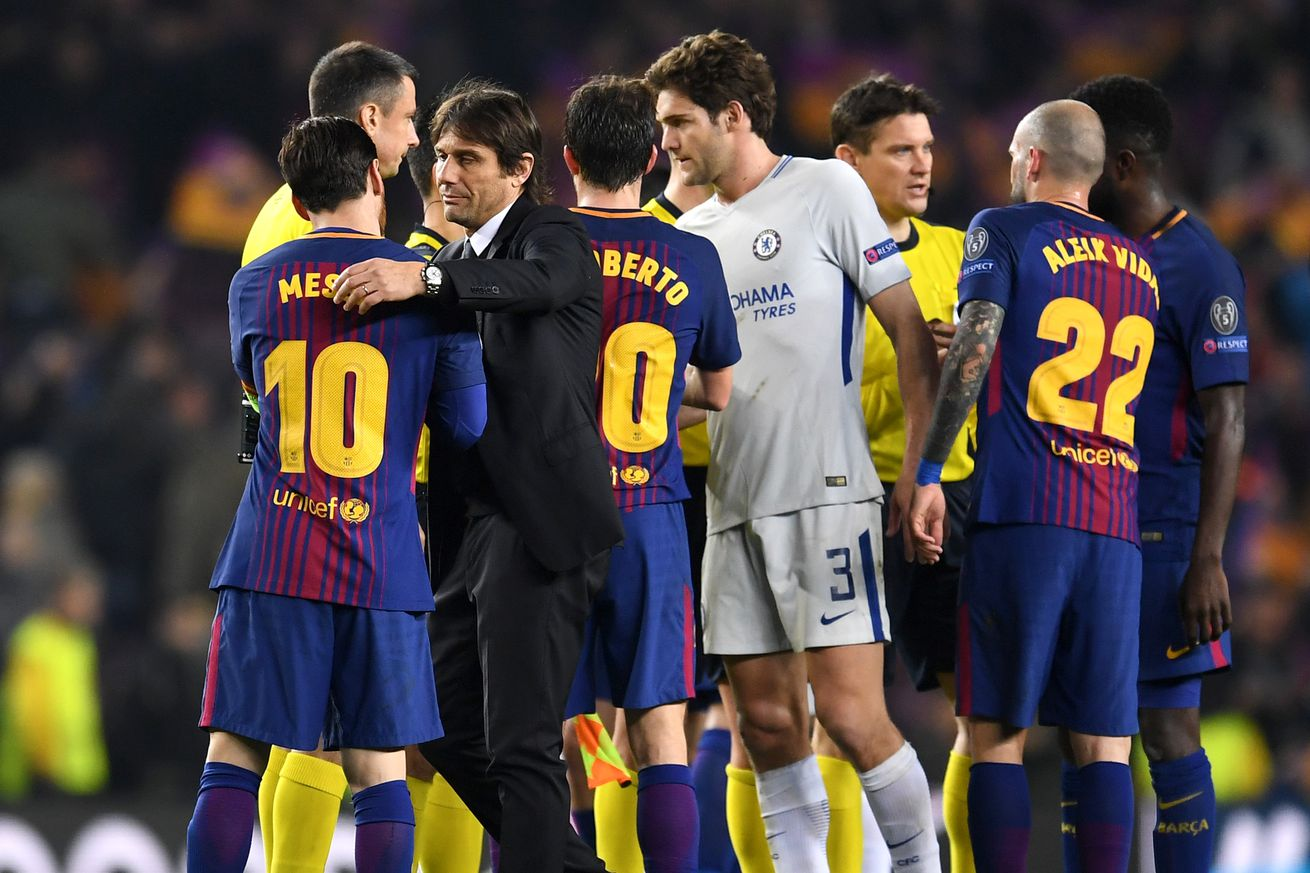 Conte explains what he told Messi after Barca knock Chelsea out