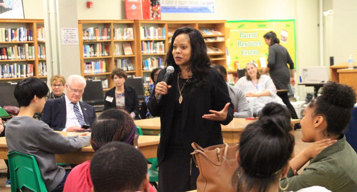 Shante Avant, board chairwoman, at Central High School last year.